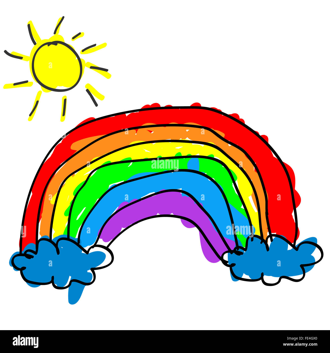 childlike cute rainbow with color outside the outline like a kids drawing and coloring - Outline Drawing For Kids
