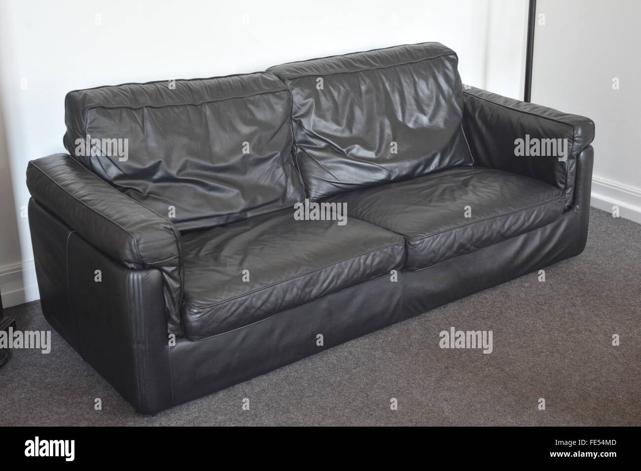 used black leather sofa, furniture, lounge