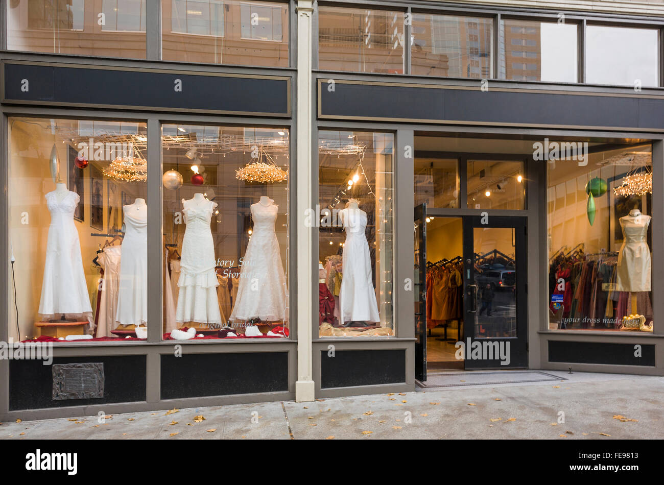 Exterior of bridal boutique with wedding dresses displayed for Wedding dress shops in oklahoma city