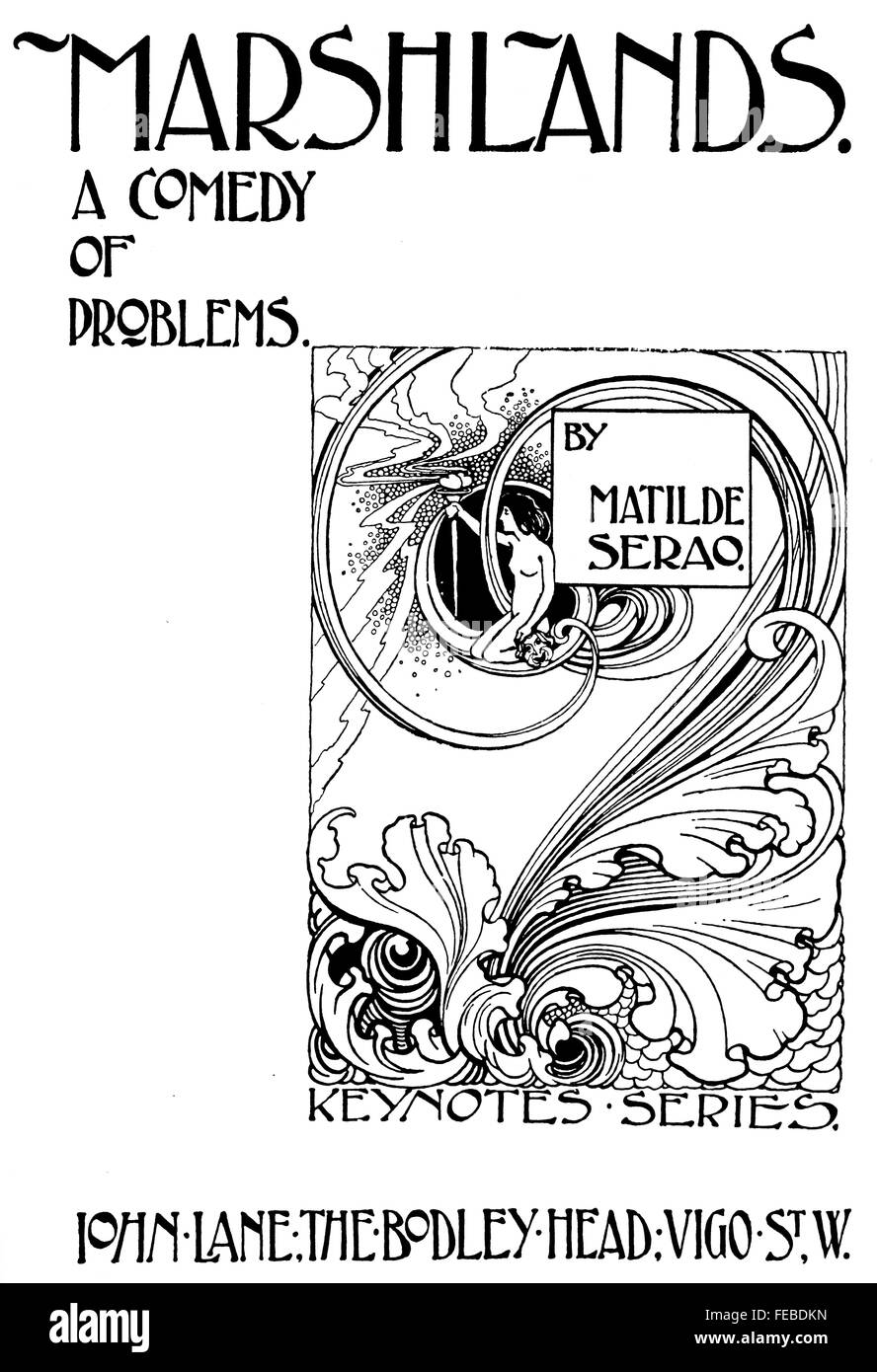 marshlands a comedy of problems book title page design by marshlands a comedy of problems book title page design by george m ellwood of london art nouveau line illustration 1897