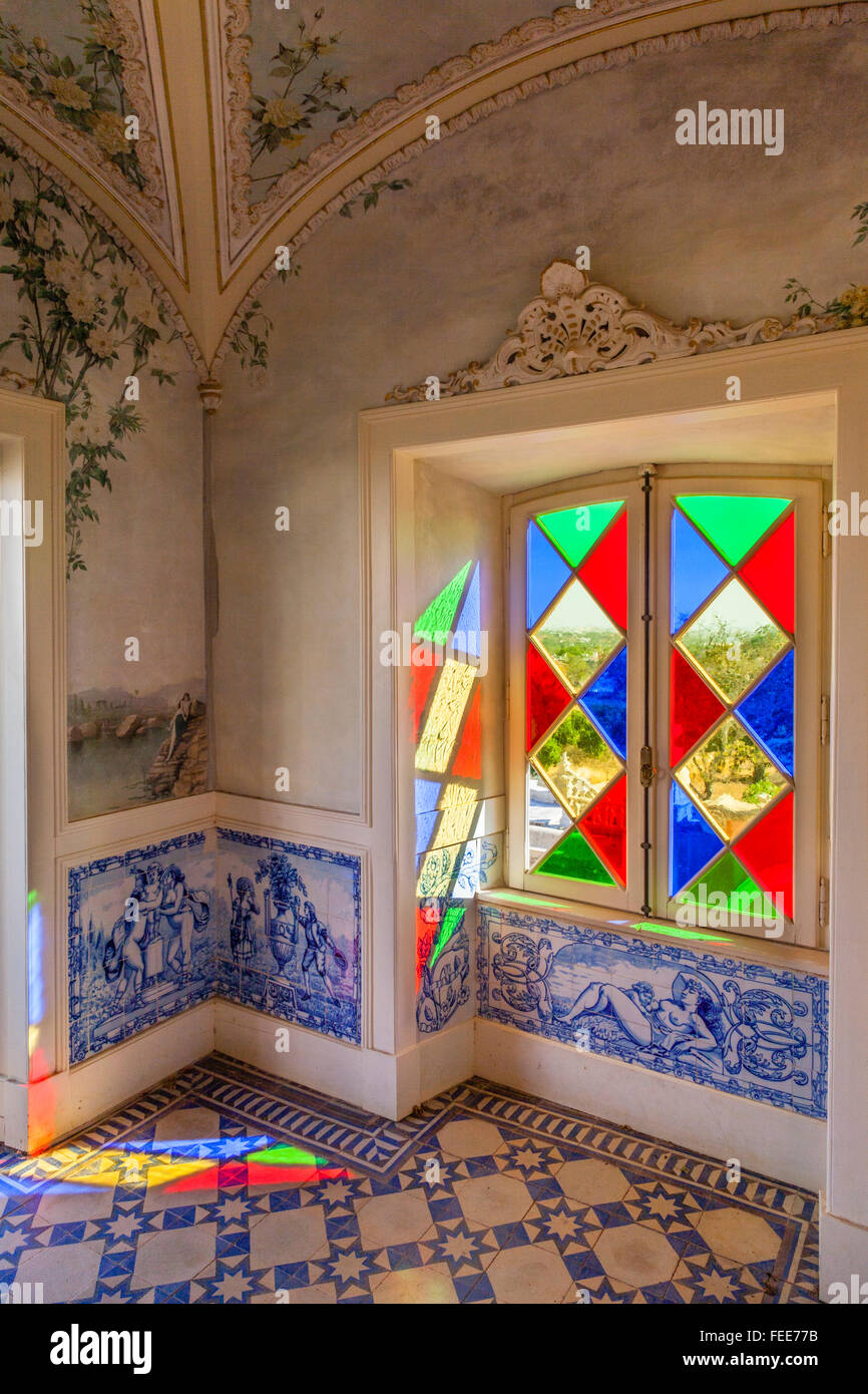 Portugal algarve faro stained glass windows and azulejos tiles portugal algarve faro stained glass windows and azulejos tiles in the garden pavillion of the baroque gardens dailygadgetfo Image collections