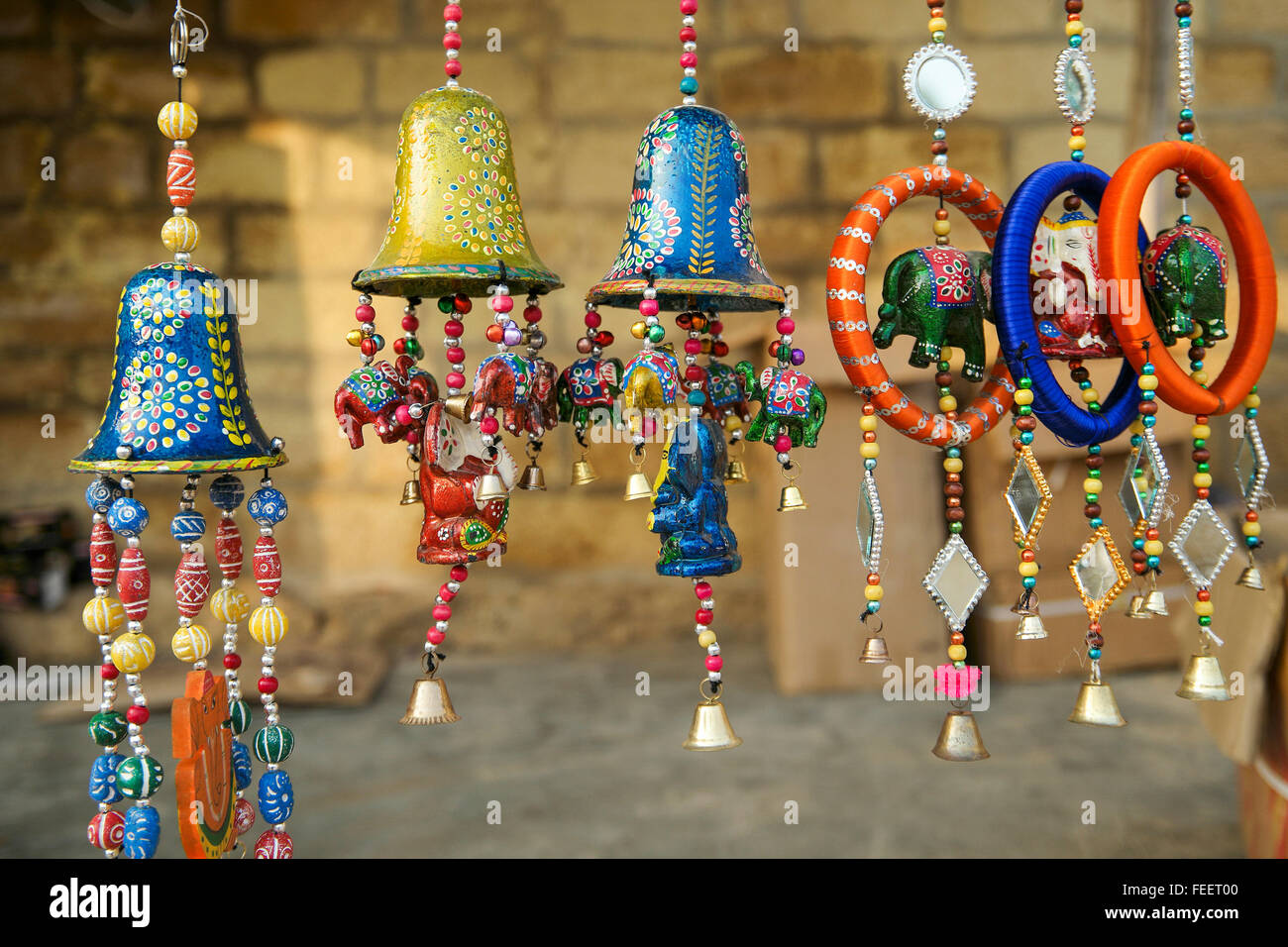 an indian traditional wind chimes selling by street vendor focus pointed at the center and - Windchimes