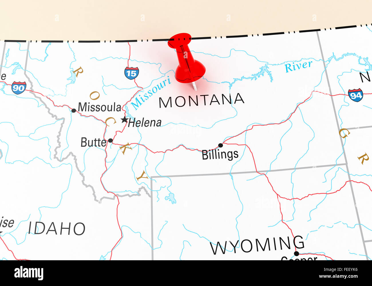 Red Thumbtack Over Montana State USA Map D Rendering Stock Photo - Montana state usa map