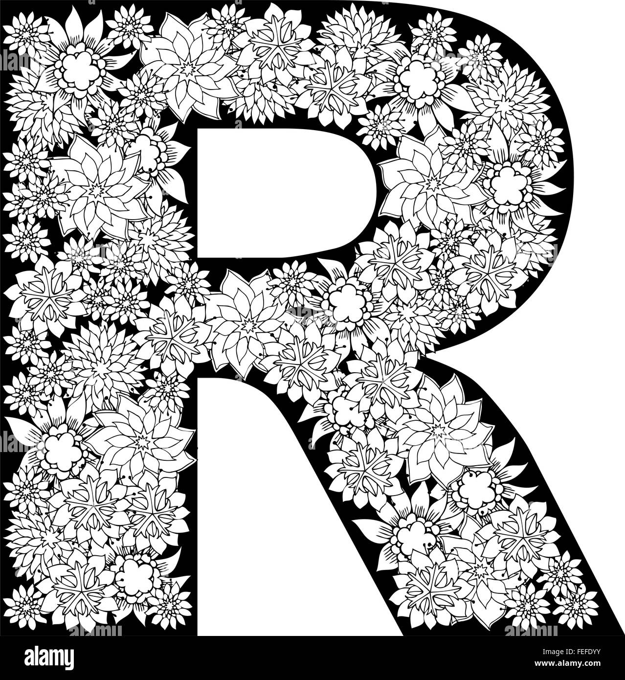 Hand Drawn Floral Alphabet Design  Letter R Stock Vector
