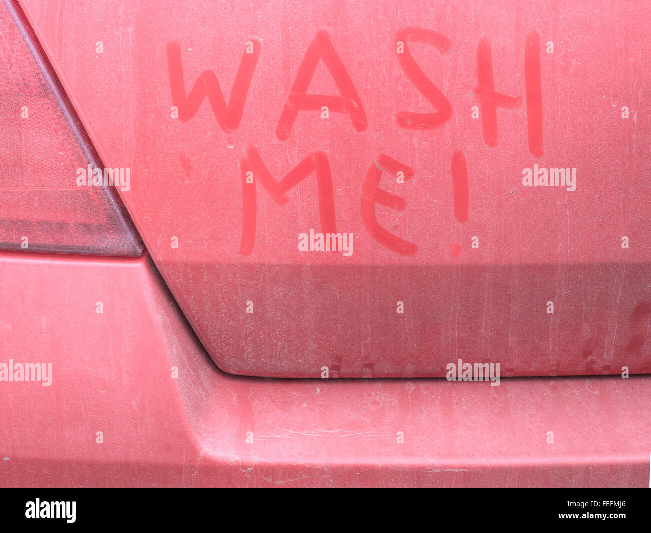 Dirty Red Car Wash Me Written In Grime Stock Photo Royalty Free