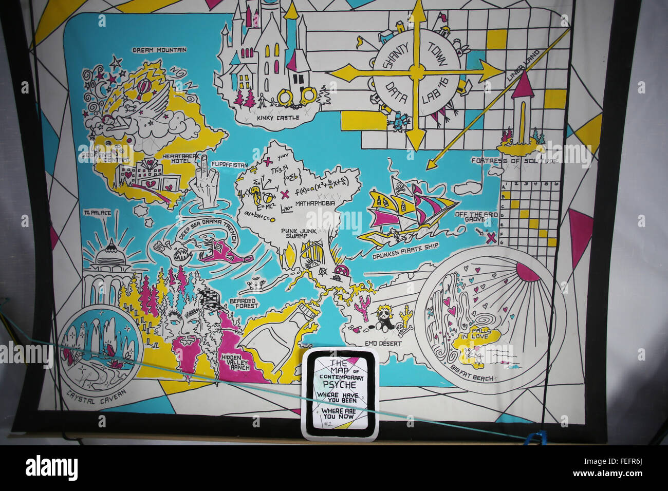 Minneapolis Minnesota Usa 06th Feb 2016 A Funny Map In The Data Lab Shanty One Of The Art Shanties At The Art Shanty Projects On Frozen White Bear