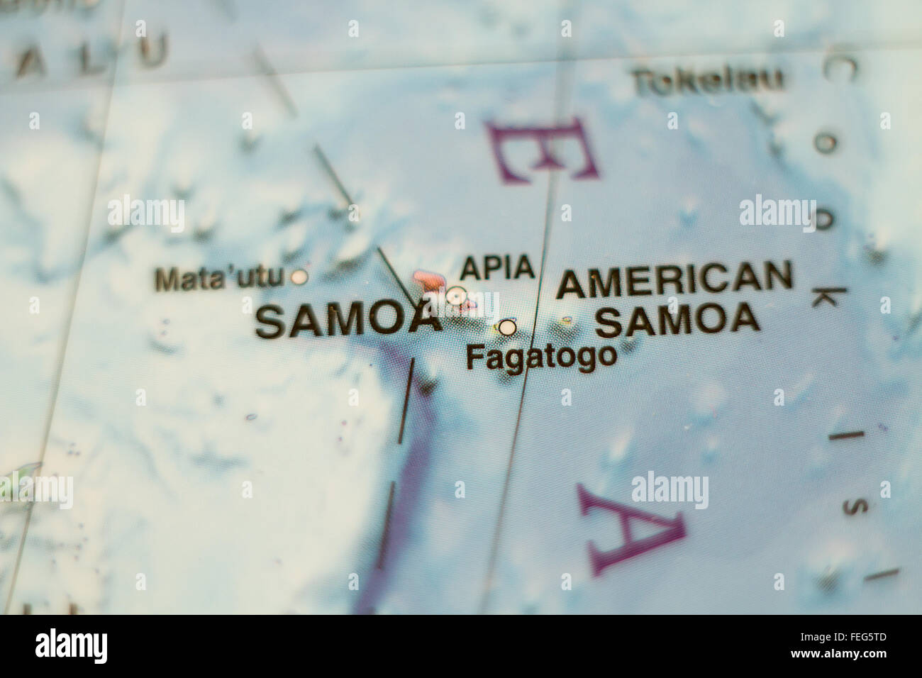 Photo of a map of Samoa and the capital Apia Stock Photo Royalty