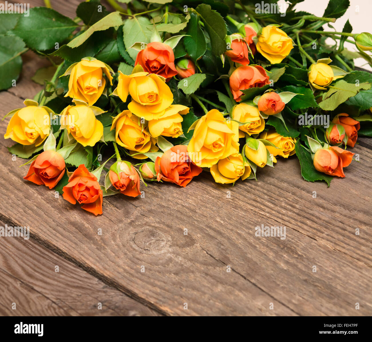 yellow and orange roses on a wooden background women u0027 s day stock