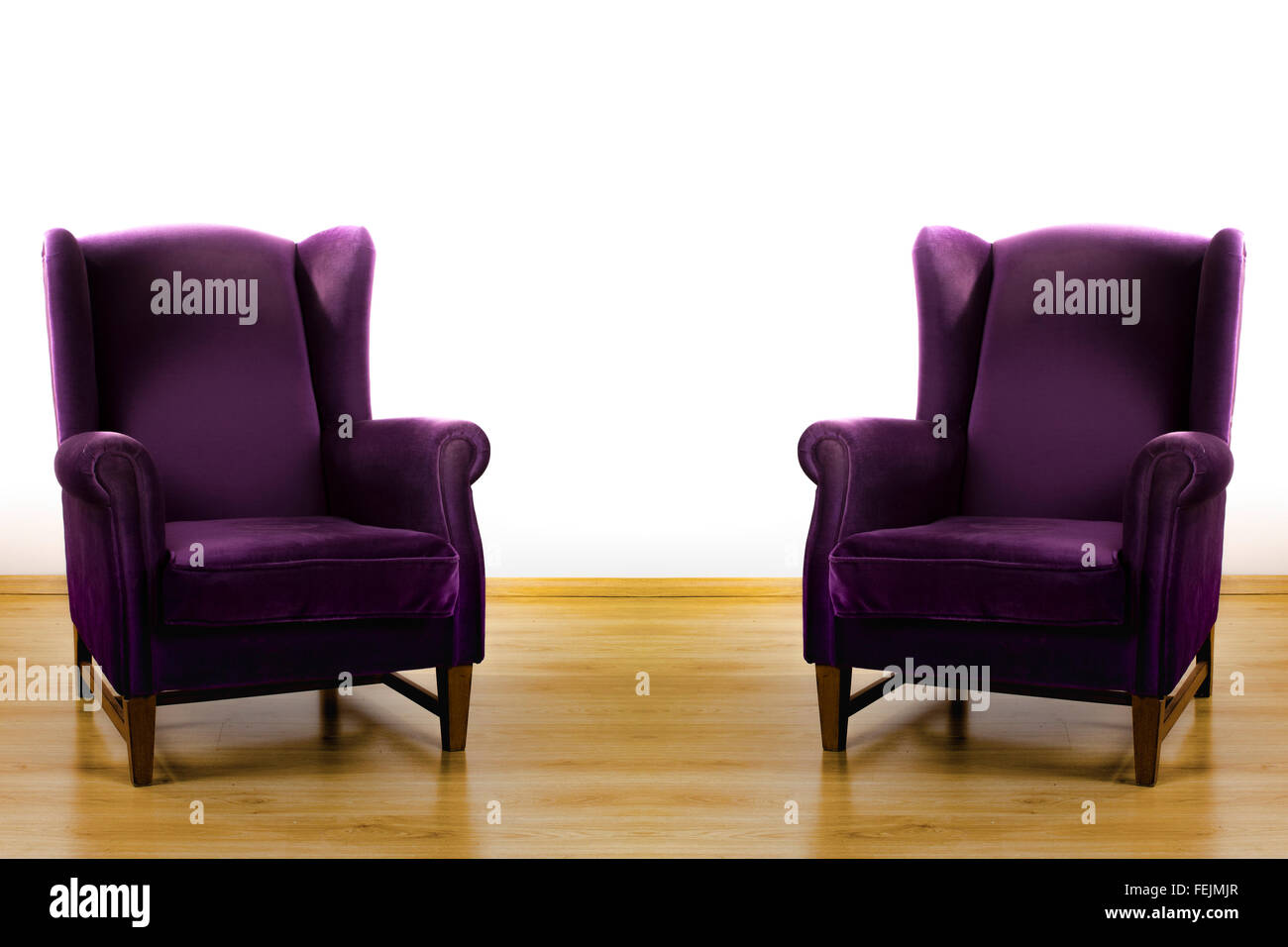 Two Purple Armchairs Isolated On White Background Symmetrical