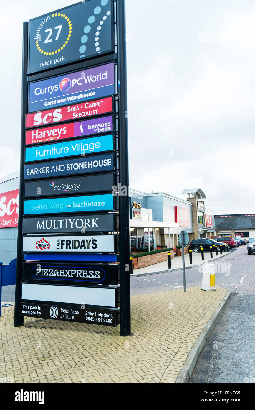 Birstall Retail Park Batley Leeds UK Stores Shops Shopping Centre - Cars sign and names