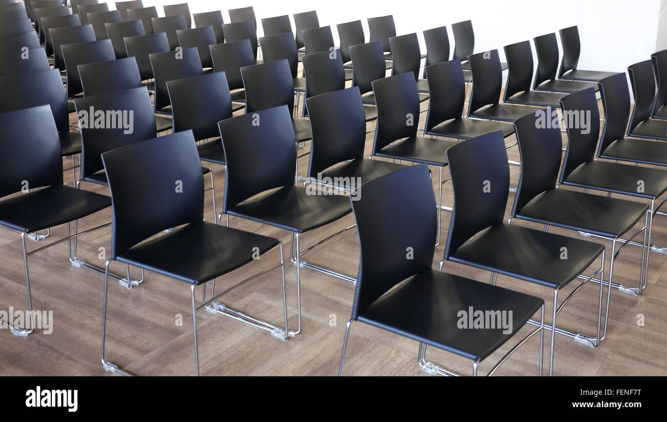 Empty Chairs In A Modern Conference Room. Shallow Depth Of Field