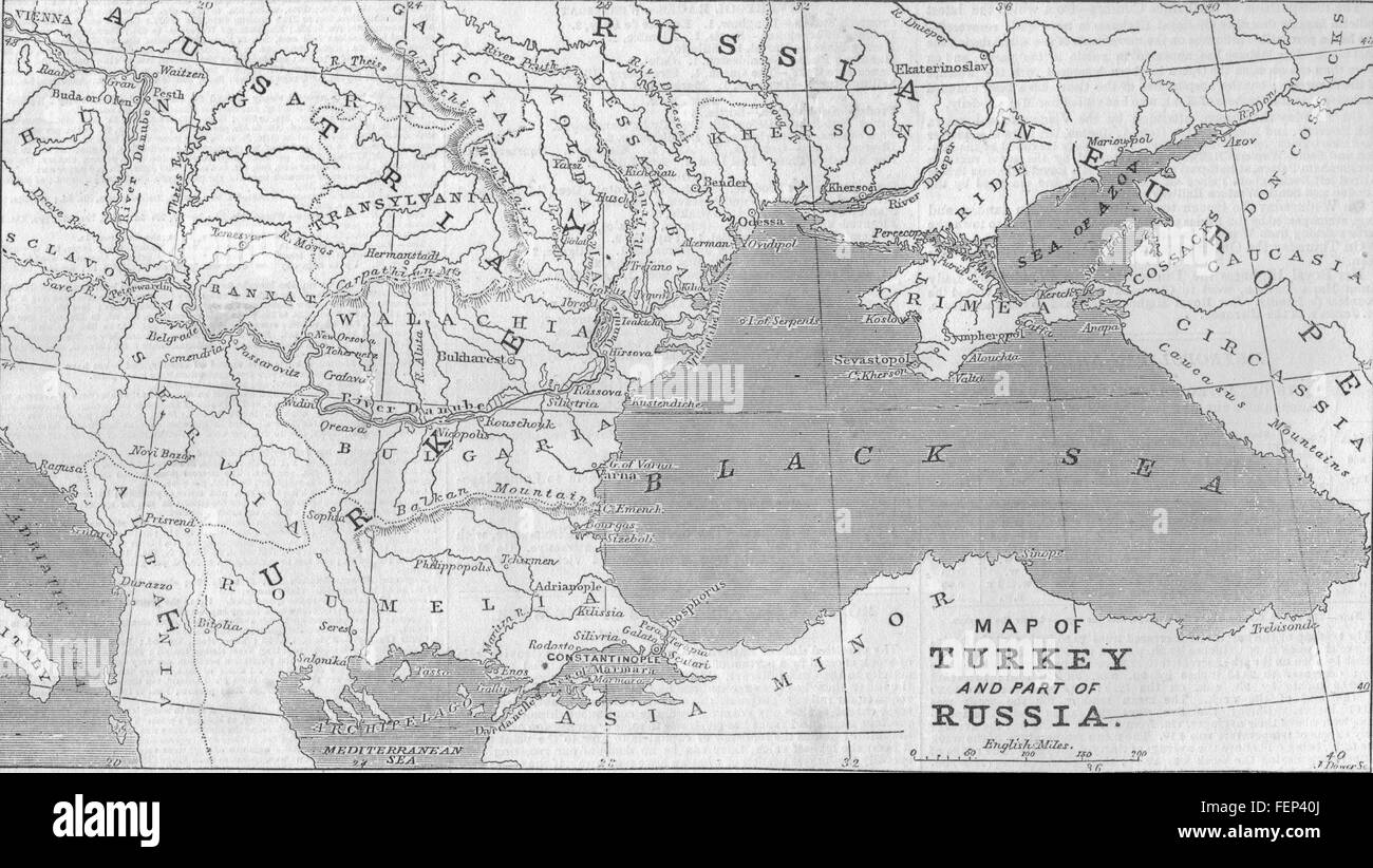 TURKEY Map Of Turkey And Part Of Russia  Illustrated London - Map of the us in 1853