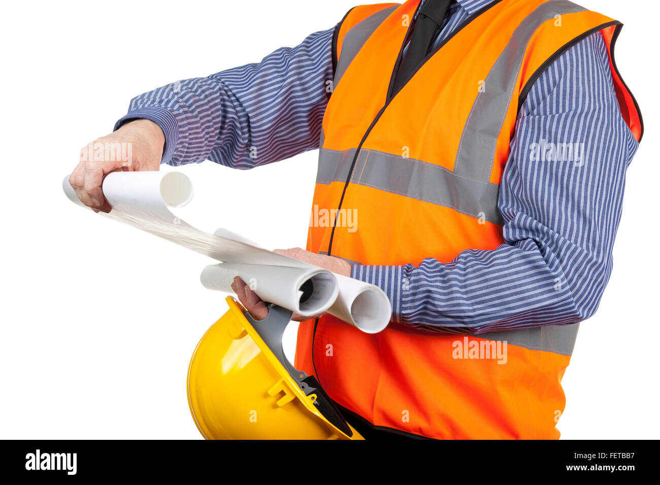Building Surveyor In Orange Visibility Vest Checking Construction Drawings