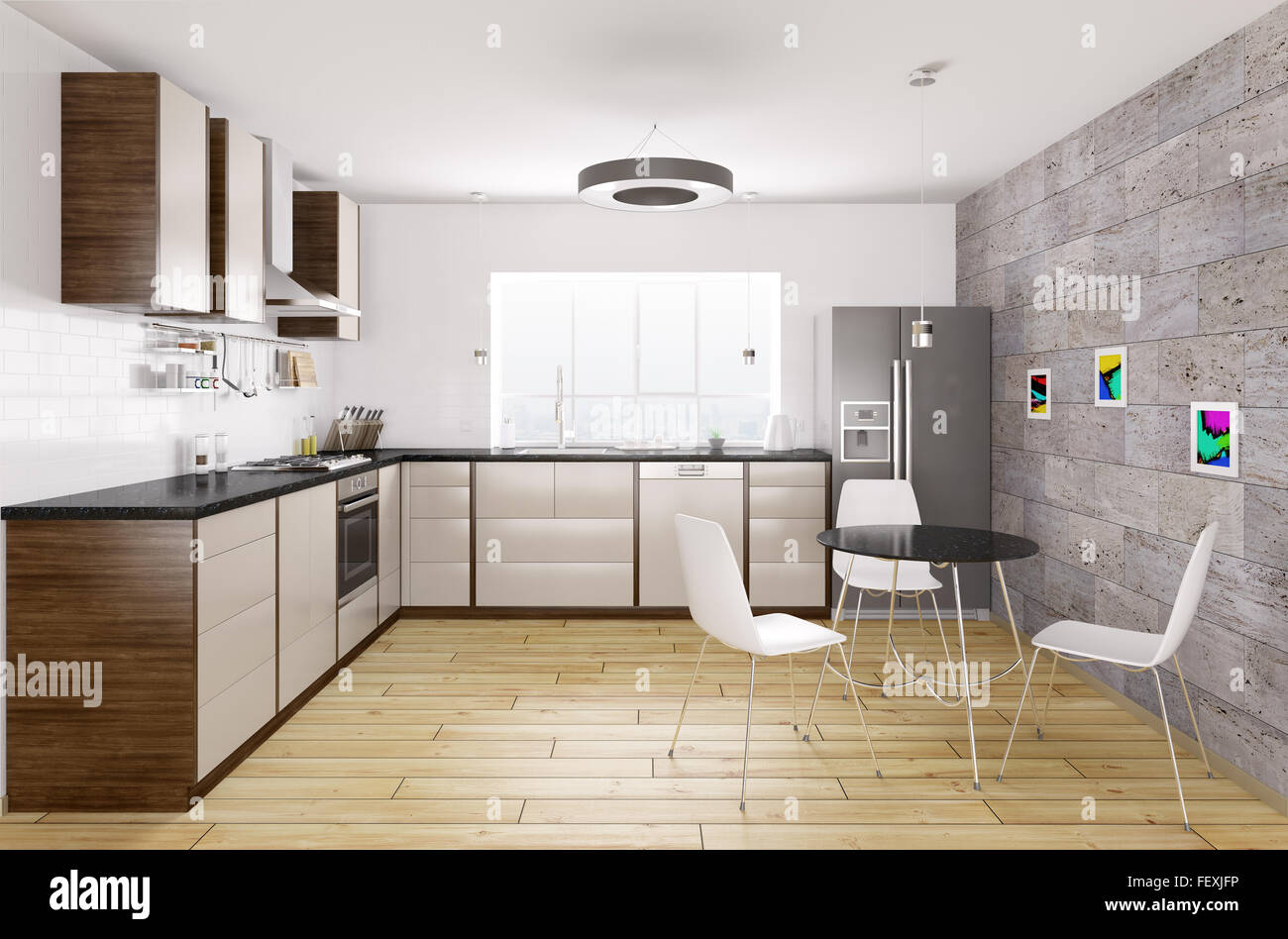 kitchen counter window. Modern Kitchen With Black Granite Counter, Window,table And Chairs Interior 3d Rendering Counter Window W