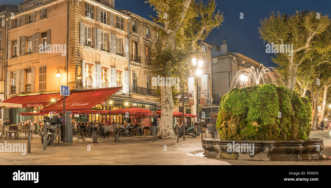 brasserie fountain cours mirabeau boulevard at night aix en stock photo royalty free image. Black Bedroom Furniture Sets. Home Design Ideas