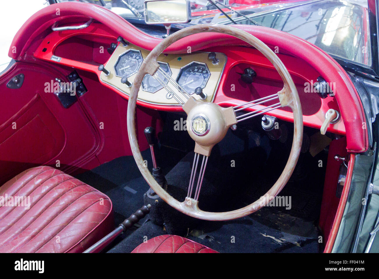 interior of a 1954 mg tf midget classic british sports car uk stock photo royalty free image. Black Bedroom Furniture Sets. Home Design Ideas