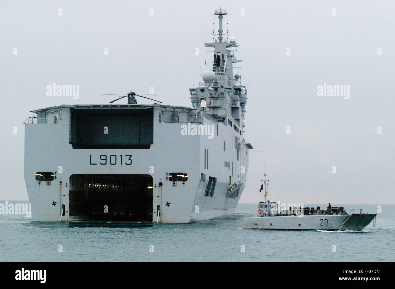 the french navy assault ship mistral stock image