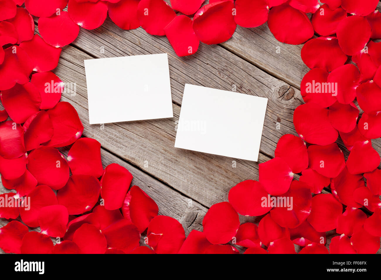 valentines day blank photo frames over wooden background and red rose petals
