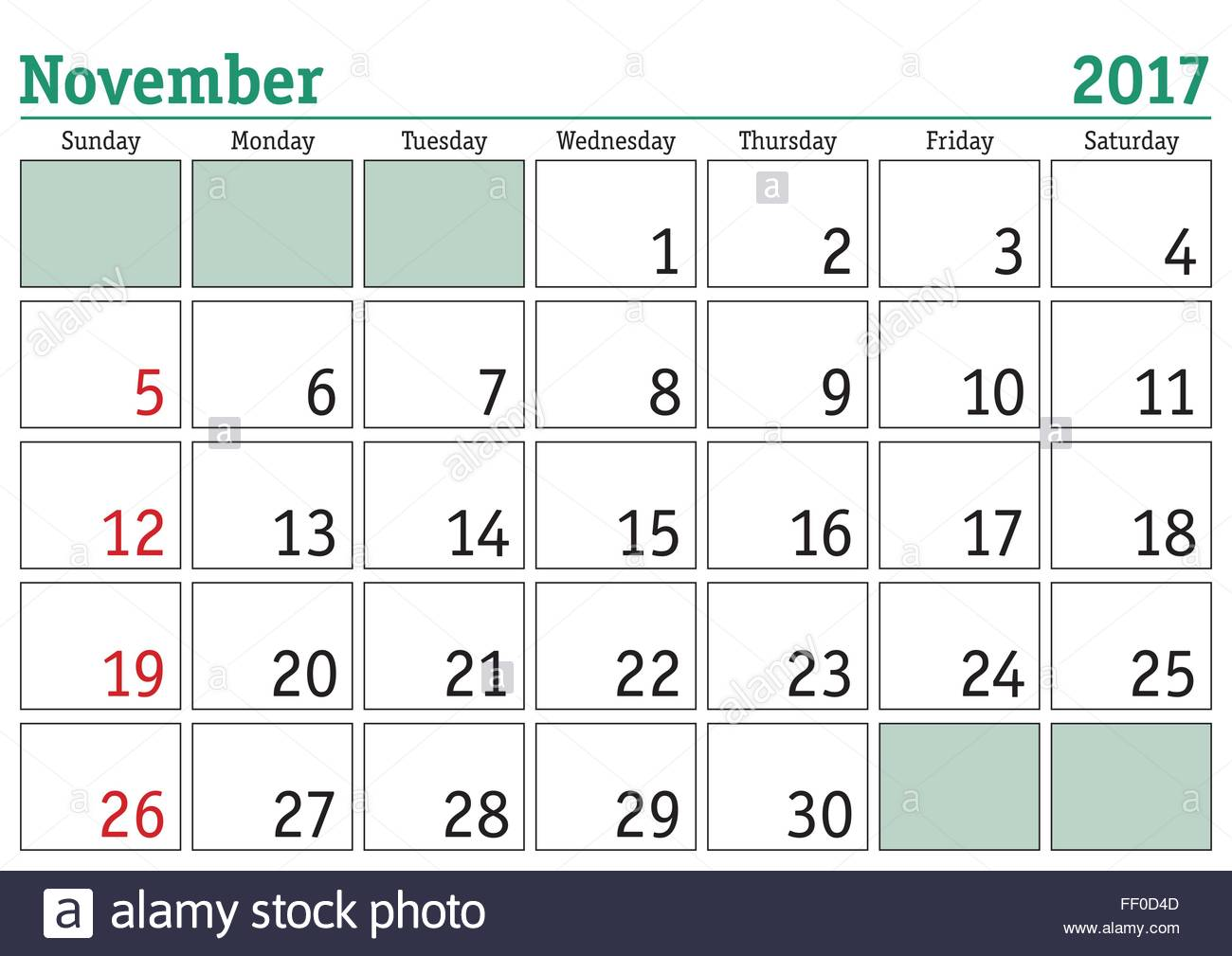 simple digital calendar for november 2017 vector printable