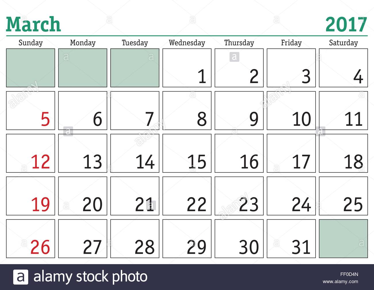 Printable Calendar March 2017