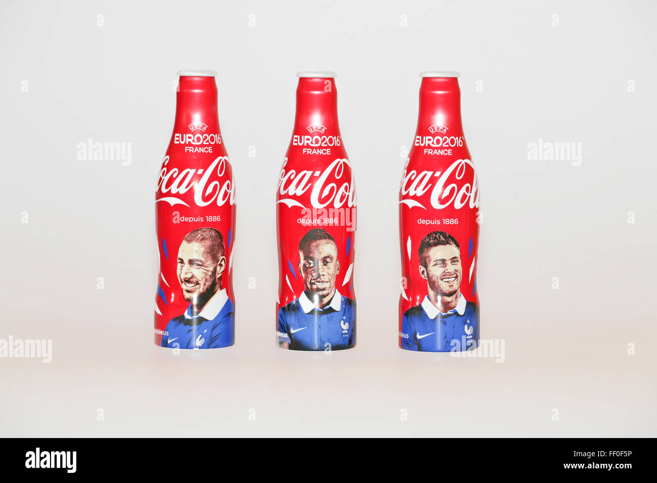 Coca cola bottles limited edition euro 2016 soccer in france stock photo roy - Coca cola edition limitee ...
