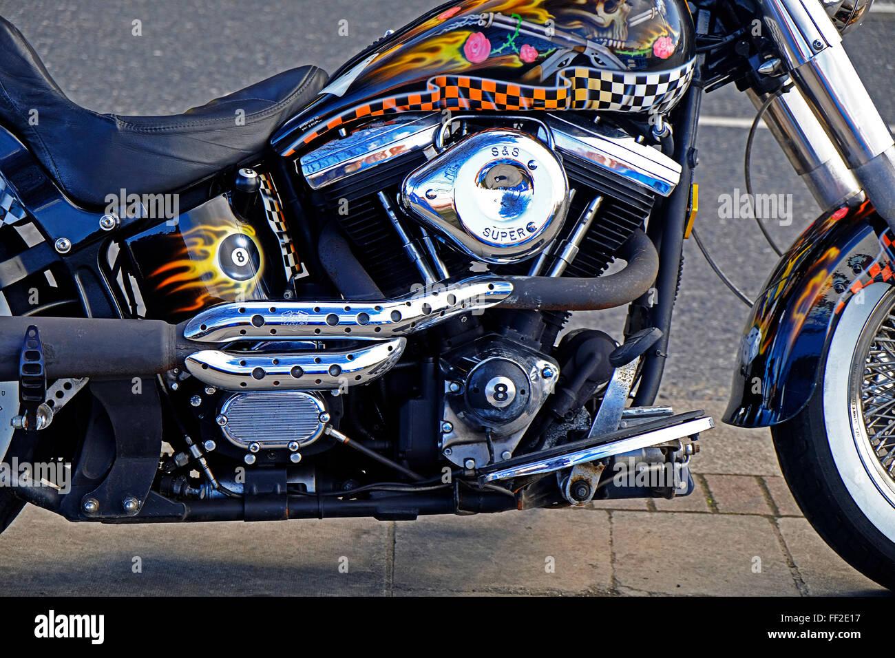 harley davidson motorcycle engine close up dublin ireland stock