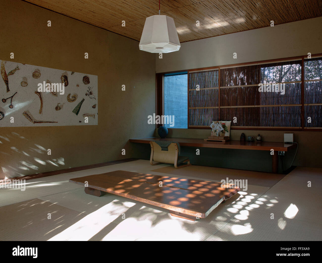 Japanese Style Living Room japanese style living room with tatami wood floor stock photo
