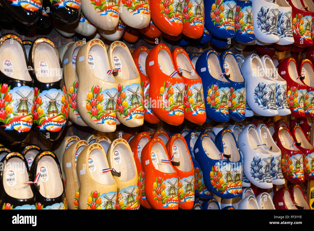 tourist gift shop with wooden wood souvenir clogs for sale to