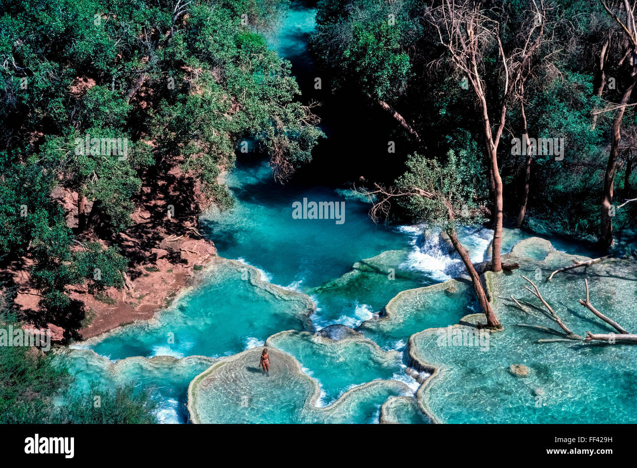 Beautiful and refreshing turquoise pools at the base of for Natural pools arizona
