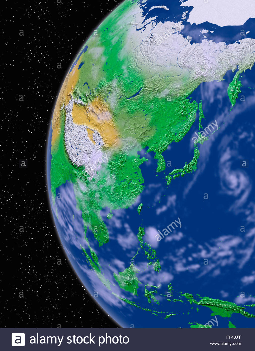 Simulated Satellite View Of Part Of The Earth Asia From Space - Asia satellite map