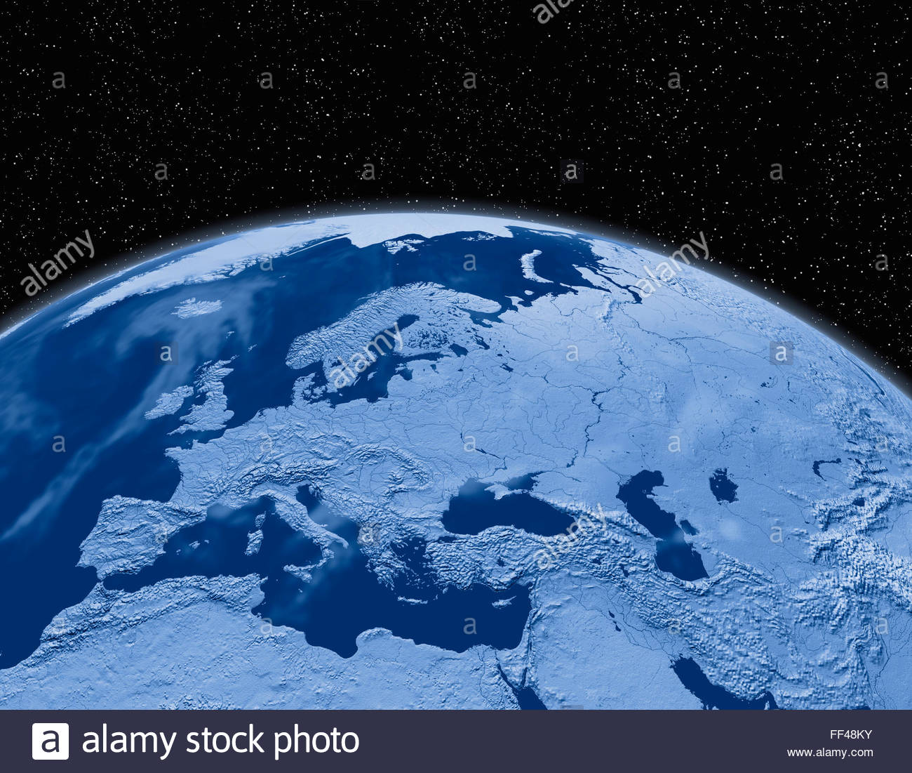 Simulated Satellite View Of Part Of The Earth From Space Europe - World map from outer space