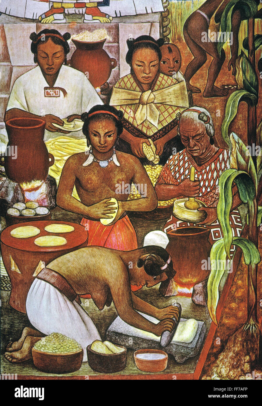 Rivera grinding corn ndetail from a mural by diego for Diego rivera aztec mural