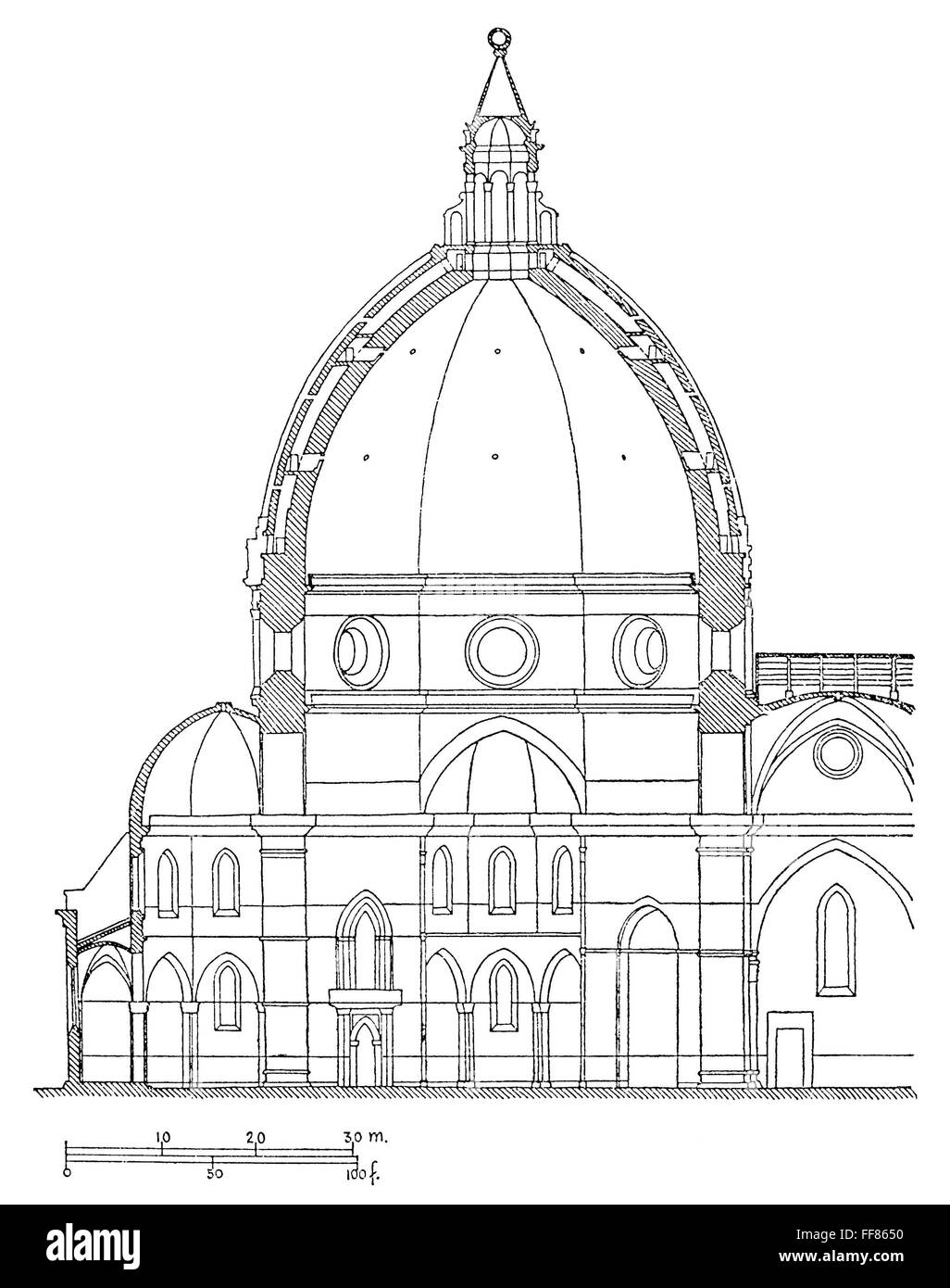 BRUNELLESCHI: DOME PLAN. /nModern diagram of the cross section of ...