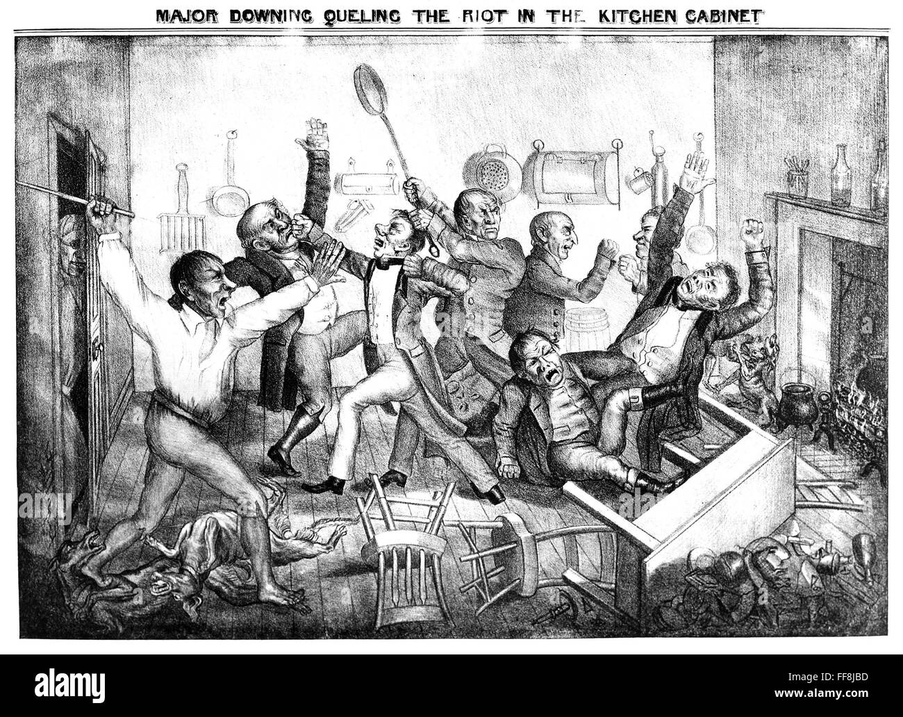 Andrew jackson cartoon n 39 major downing queling the riot for Kitchen cabinets jackson