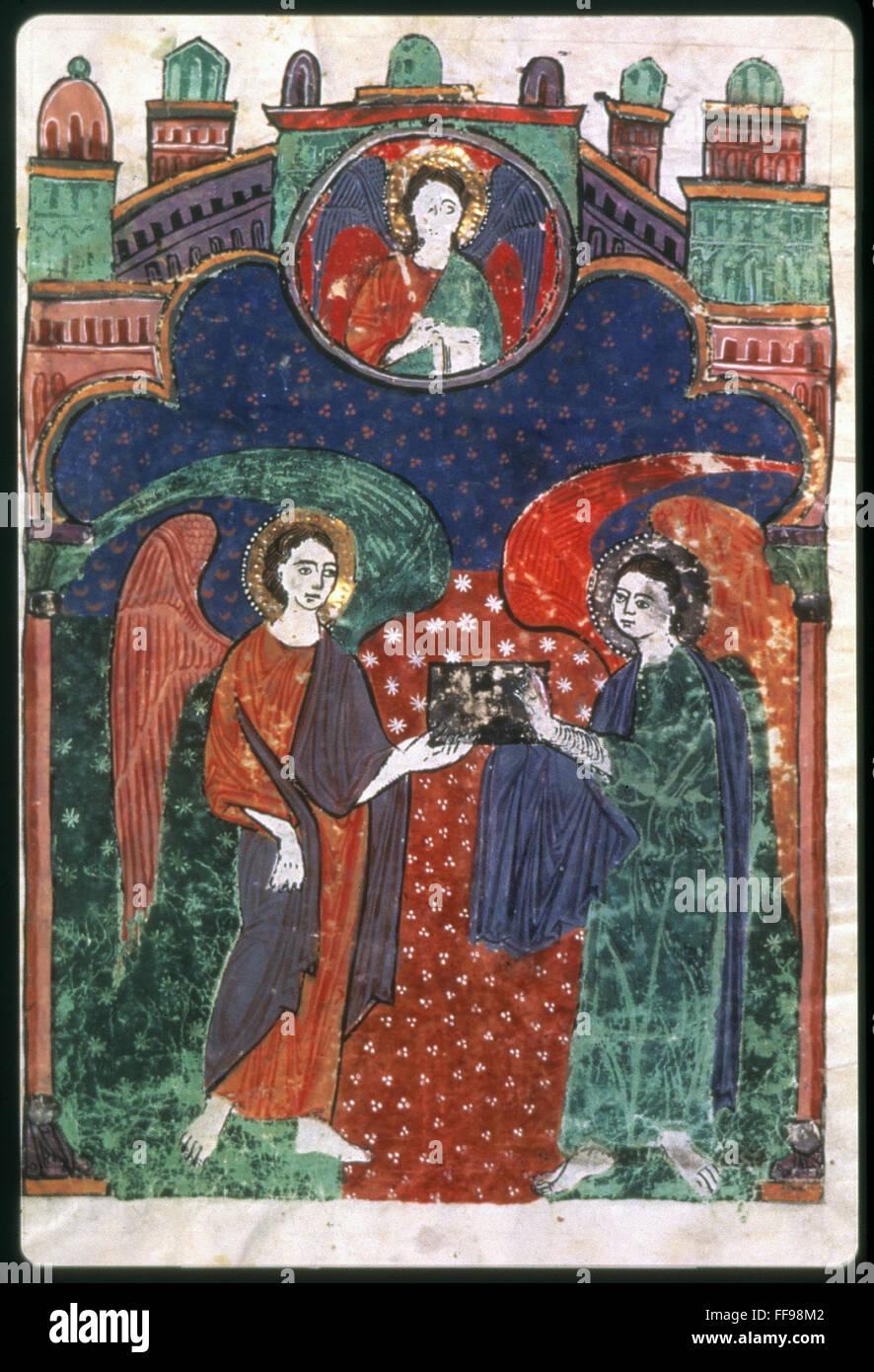 Angels holding gospels nbeneath a symbol of the apostle matthew angels holding gospels nbeneath a symbol of the apostle matthew spanish manuscript illumination 1220 biocorpaavc