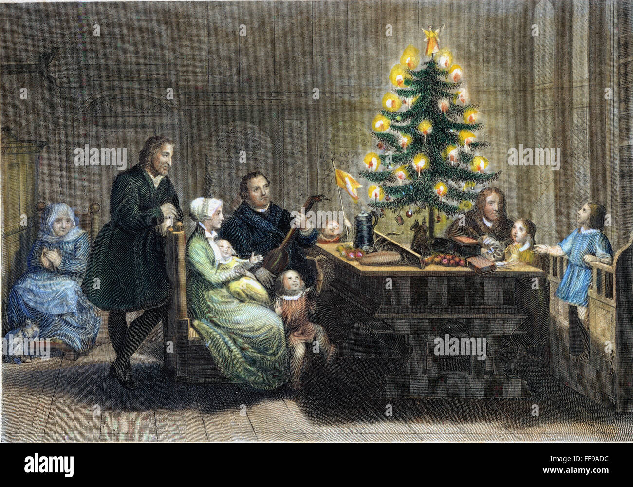 MARTIN LUTHER (1483-1546)./nWith his wife, Katharina von Bora, and ...
