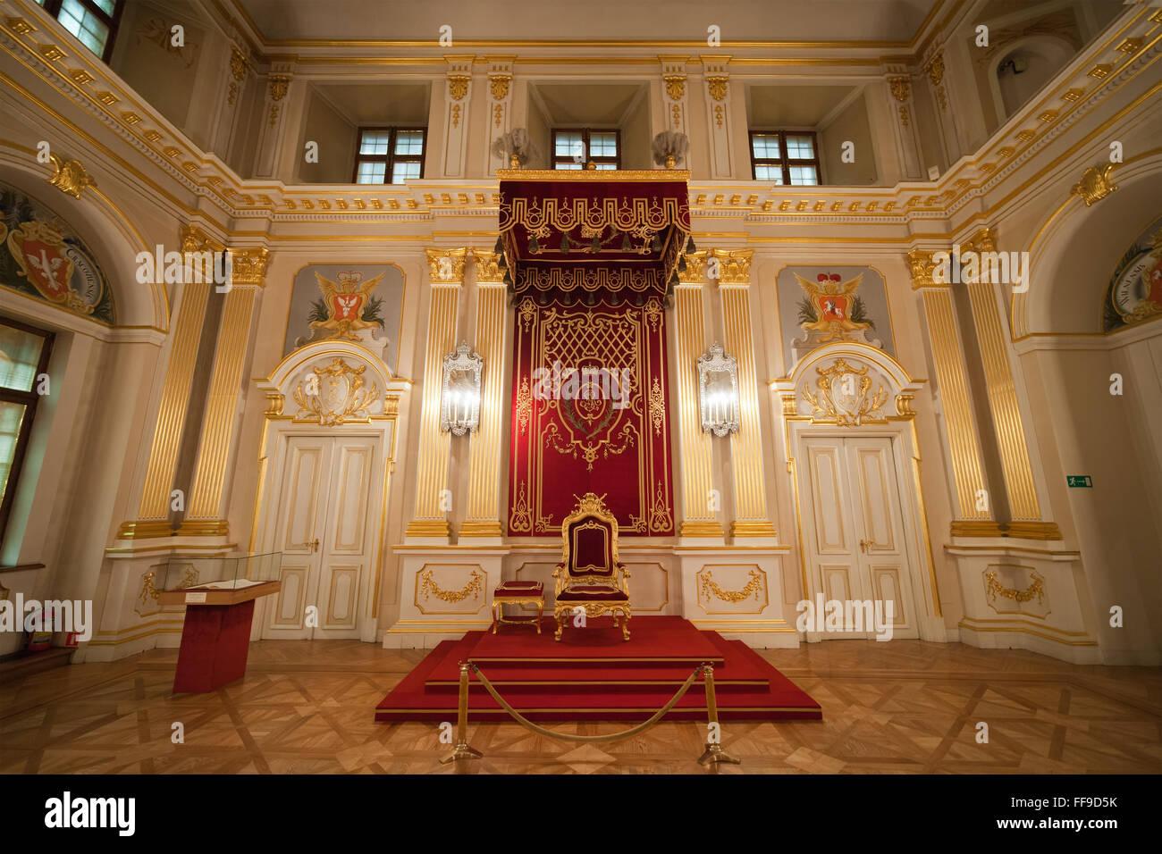 poland, city of warsaw, royal castle interior, throne in senators
