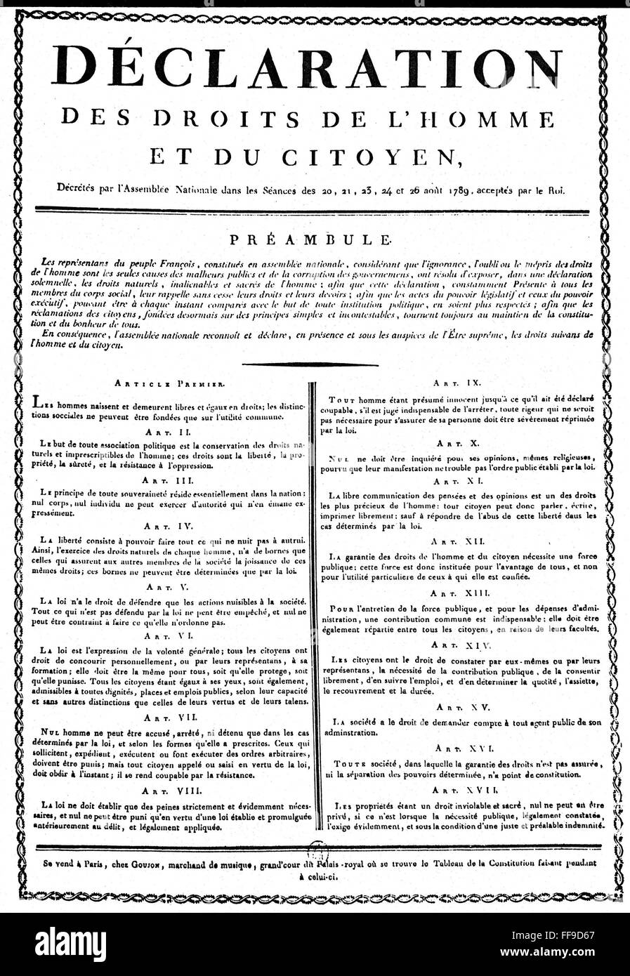 FRENCH REVOLUTION, 1789. /nThe Declaration of the Rights of Man as ...