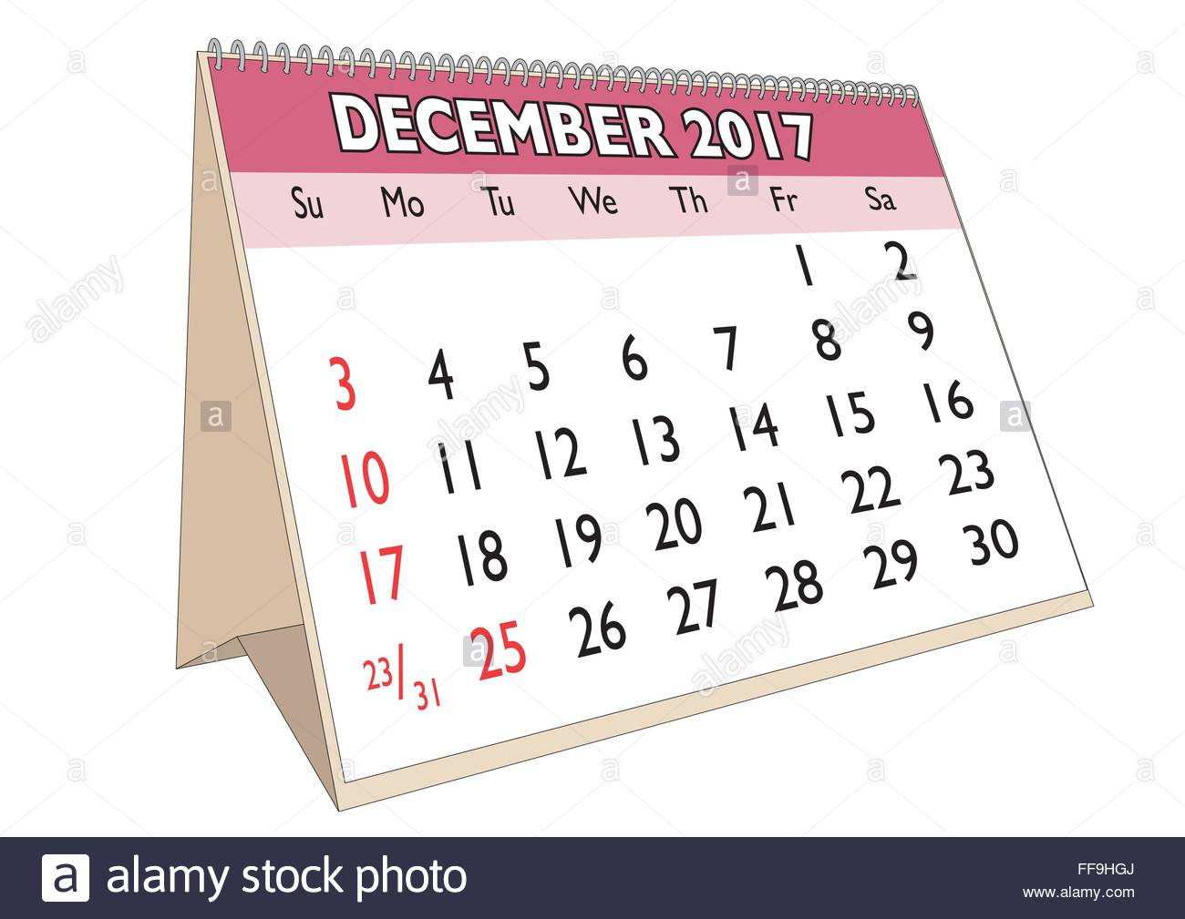 December Month In An English Calendar For Year 2017 With