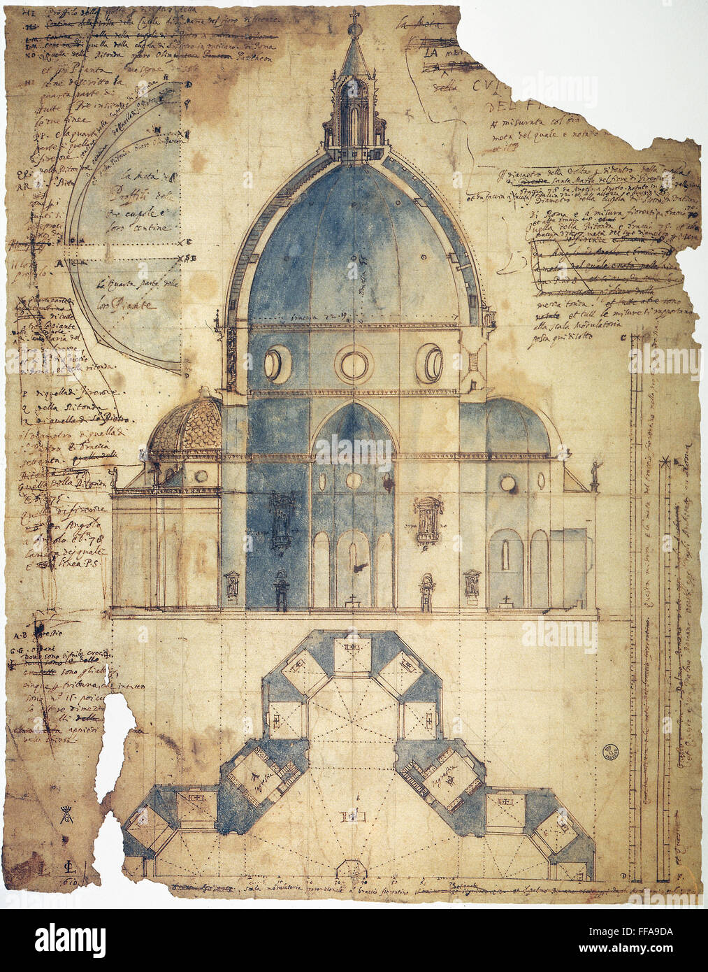 Florence Brunelleschi Ncross Section Of Filippo Brunelleschis Design Ffa Da