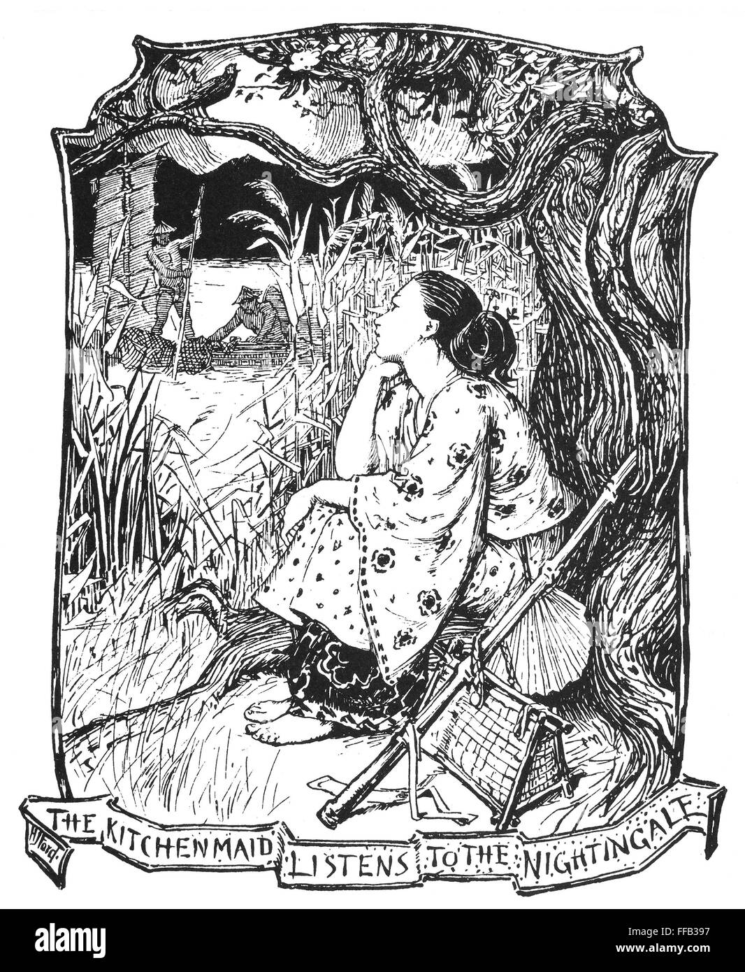/nu0027The Kitchen Maid Listens To The Nightingale.u0027 Drawing By Henry J. Ford  For The Fairy Tale By Hans Christian Andersen.