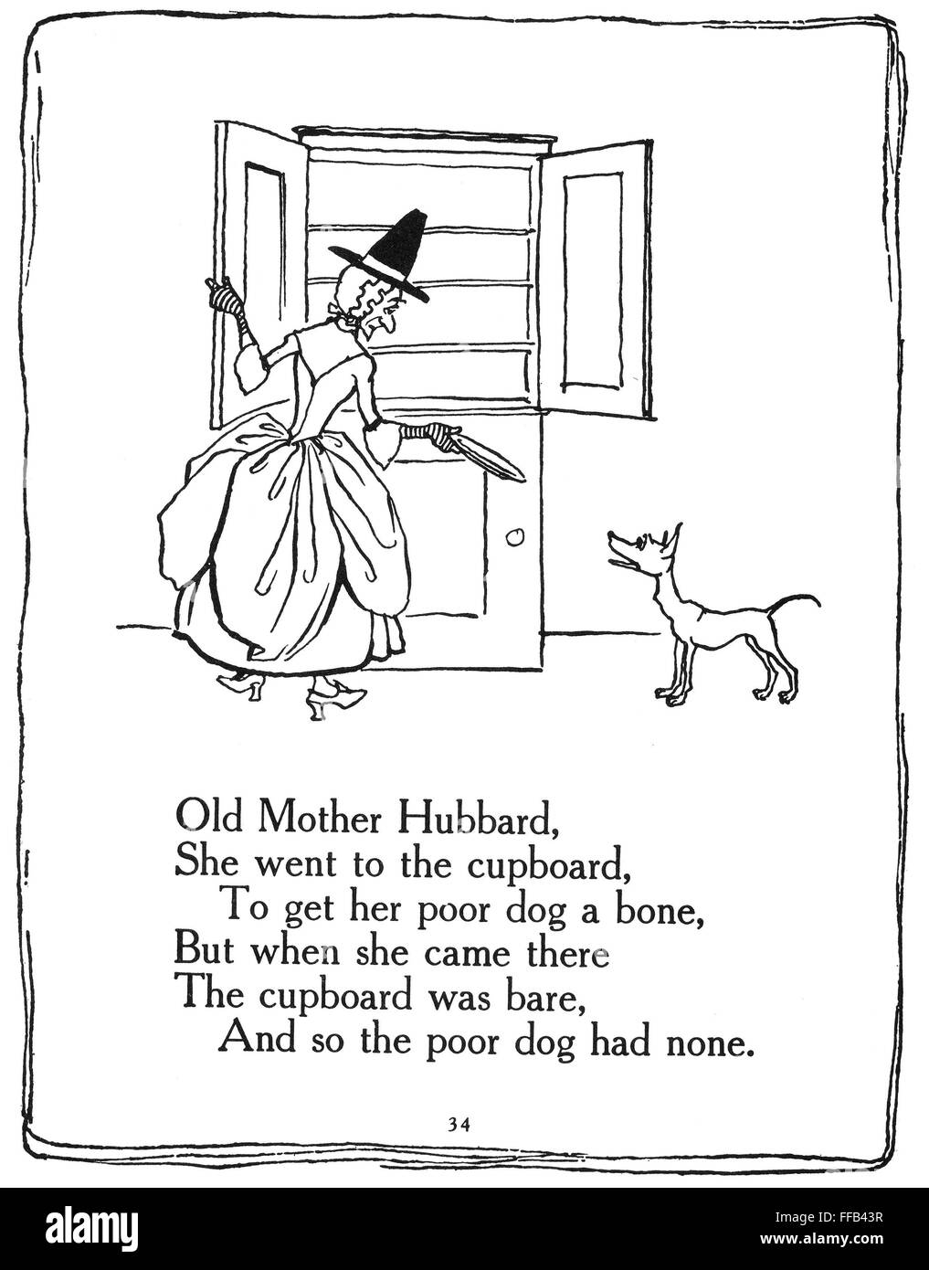 old mother hubbard 1913 npen and ink drawing by arthur rackham for an english edition 1913 of mother goose nursery rhymes