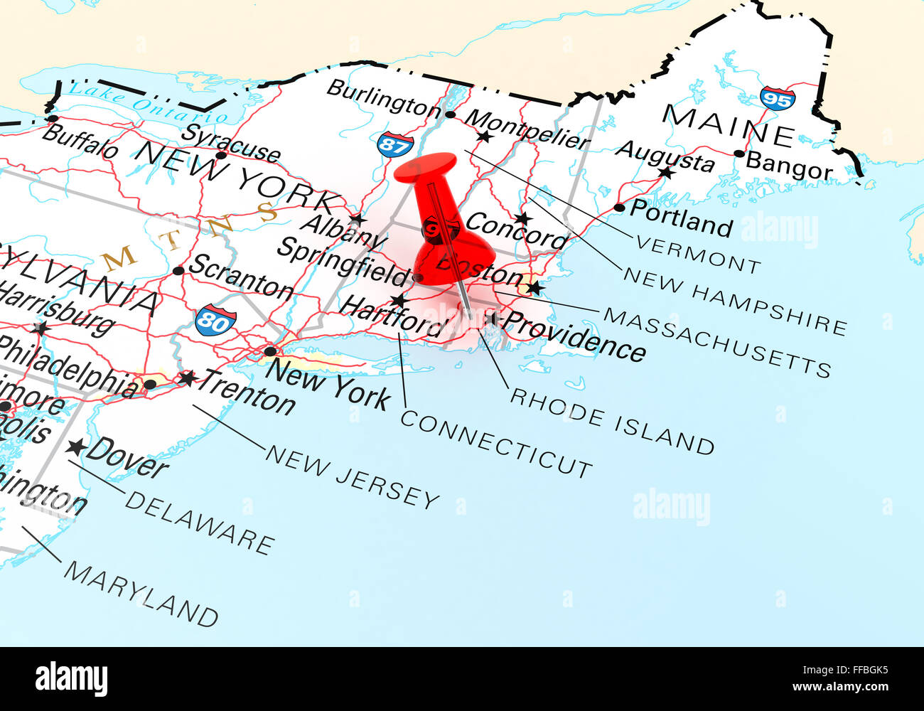 Red Thumbtack Over Rhode Island State USA Map 3D rendering Stock
