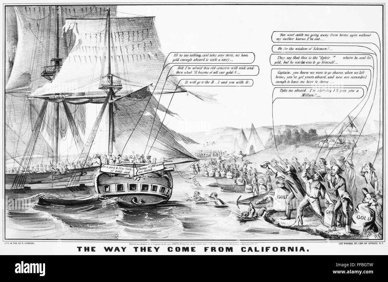 gold rush cartoon 1849 nthe way they come from