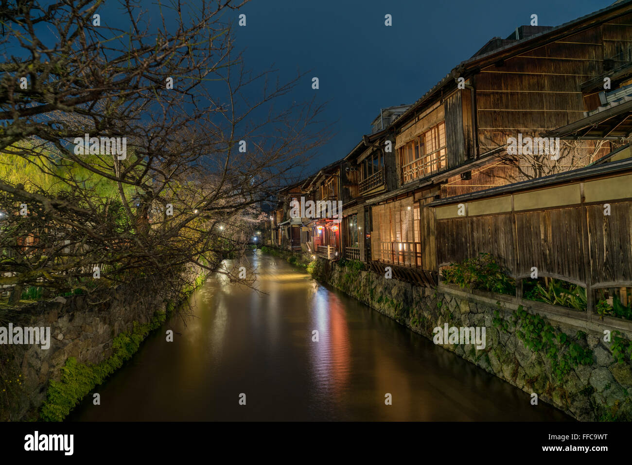 Night View of Gion Shirakawa canal, Kyoto, Japan Stock ...