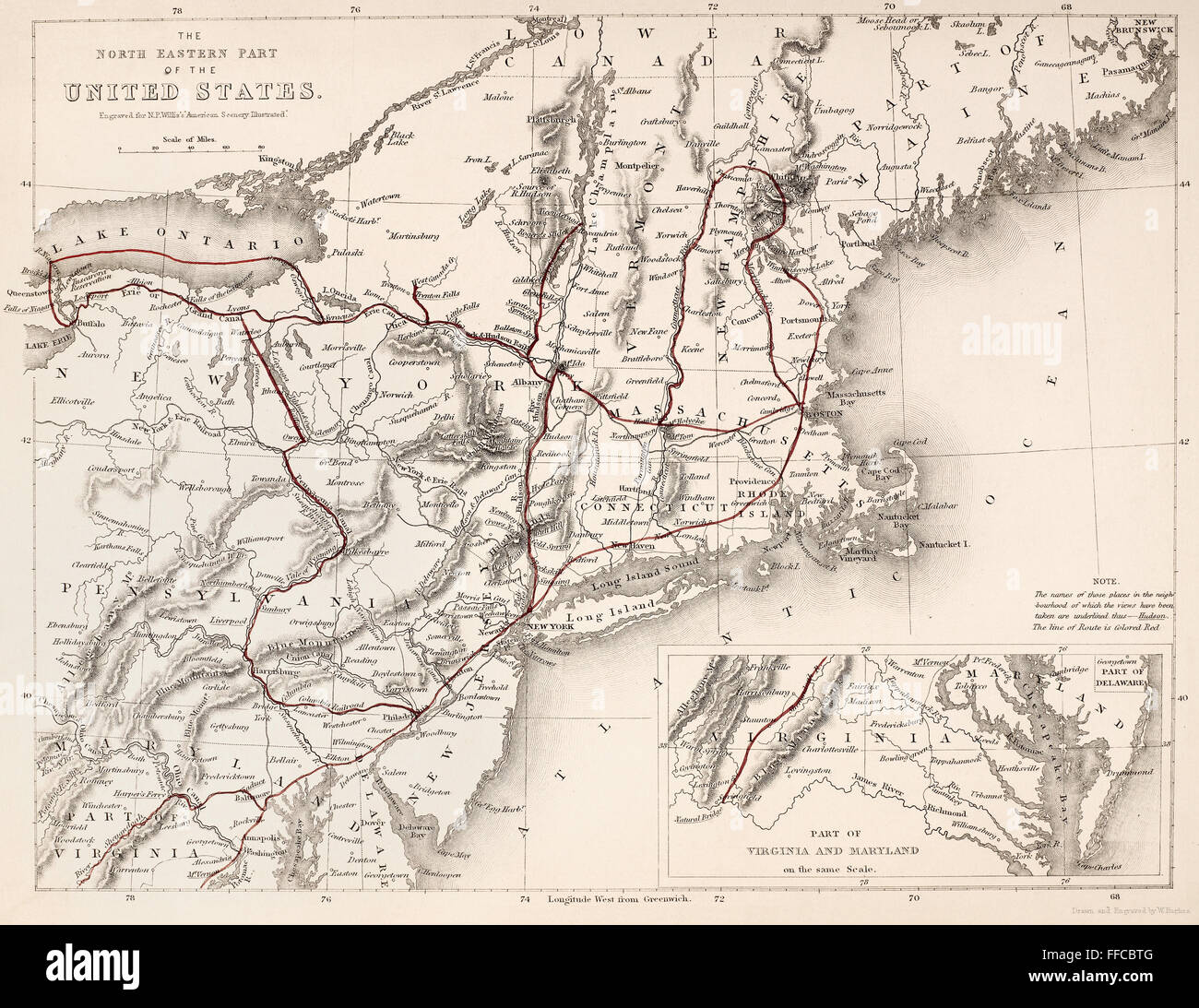 Shell Highway Map Northeastern Section Of The United States The - Map us northeast states