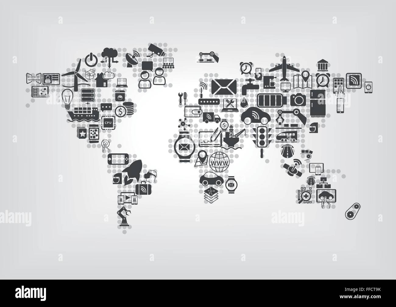 Internet of things iot and global connectivity concept world internet of things iot and global connectivity concept world map of connected smart devices using flat design gumiabroncs Choice Image