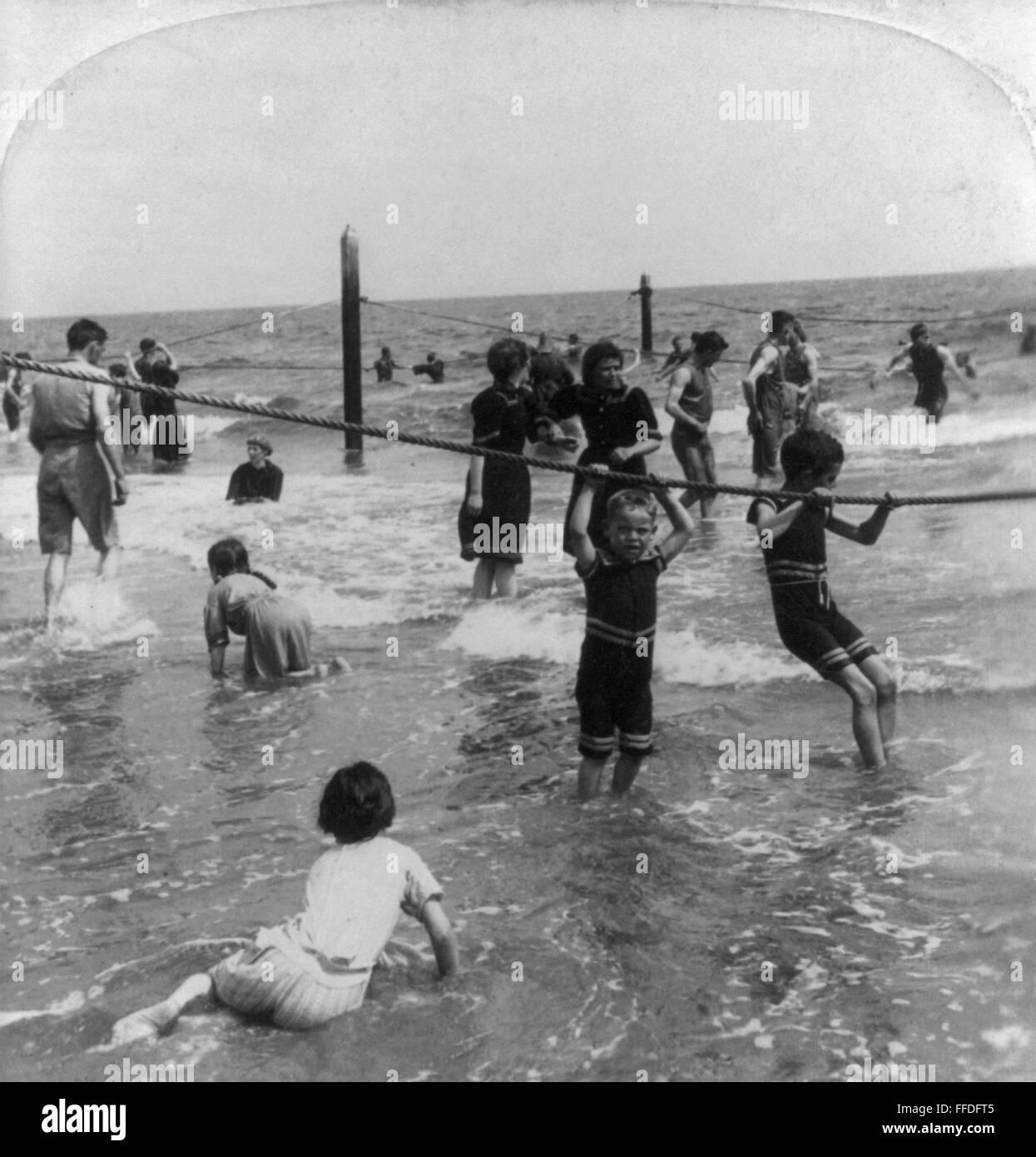 Coney Island Beach: CONEY ISLAND: BEACH, C1897. /nChildren Playing In Surf At