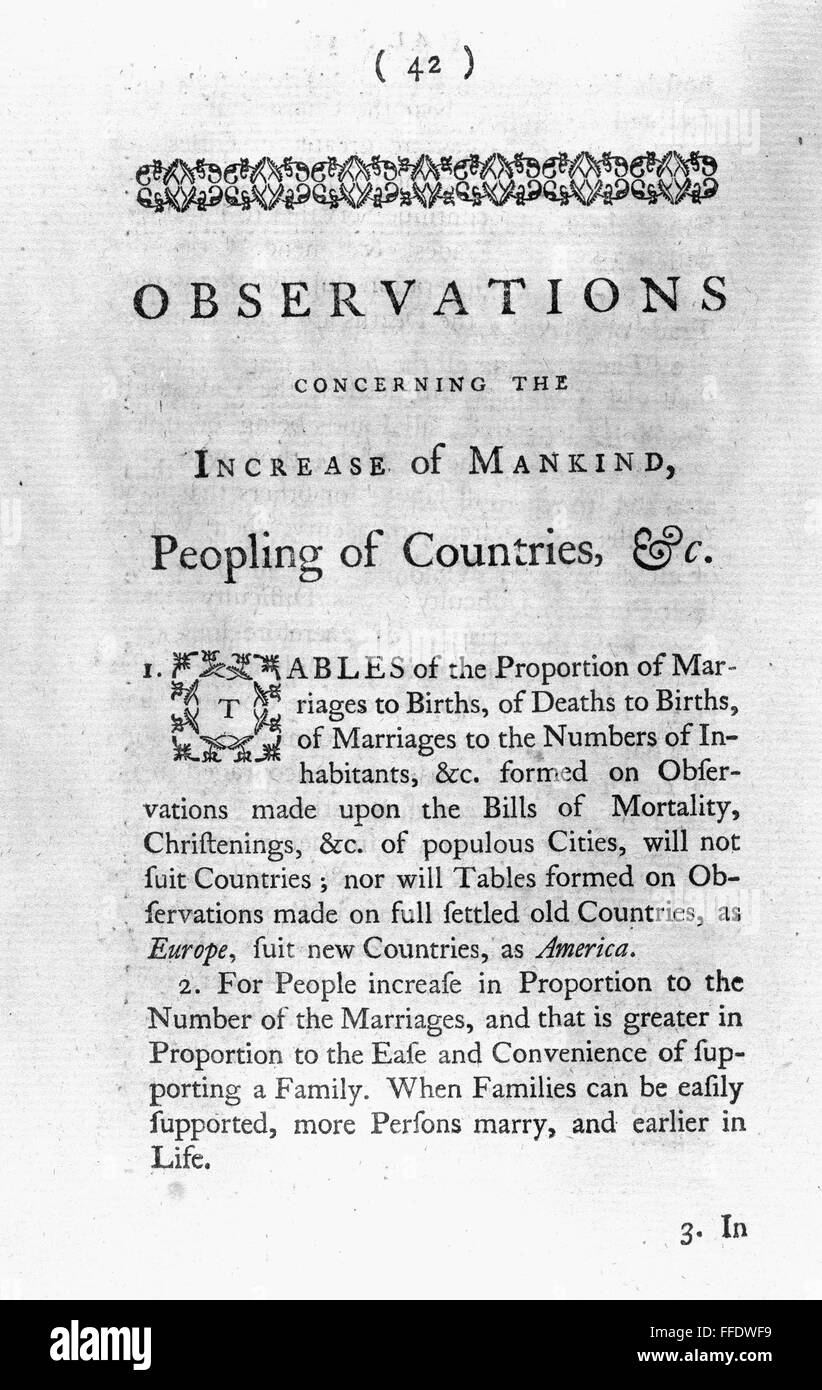 franklin title page nfirst page of benjamin franklin s nfirst page of benjamin franklin s essay observations concerning the increase of mankind peopling of countries etc 1751