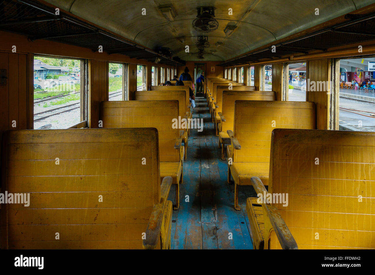 Old Train Passenger Carriage With Wooden Bench Seat